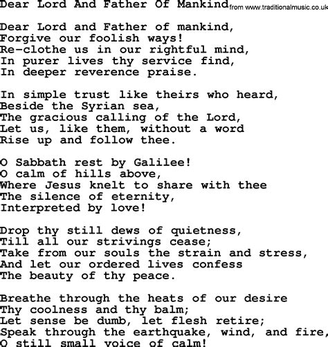 lyrics by mankind wedding hymns and songs dear lord and of mankind