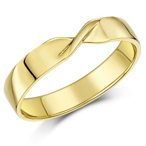 Ring 4mm 4mm 9ct yellow gold crossover wedding ring band yellow gold at elma uk jewellery