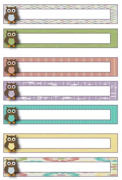 owl theme blank file folder label template freebie http