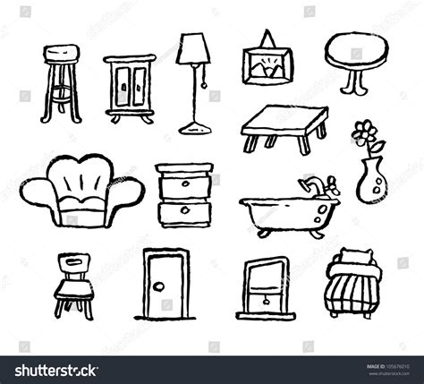 doodle series doodle series furniture stock vector illustration