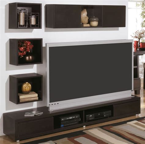 Tv Stand Wall Designs by Modern Wall Mount Tv Stand And Floating Shelf Decor Idea
