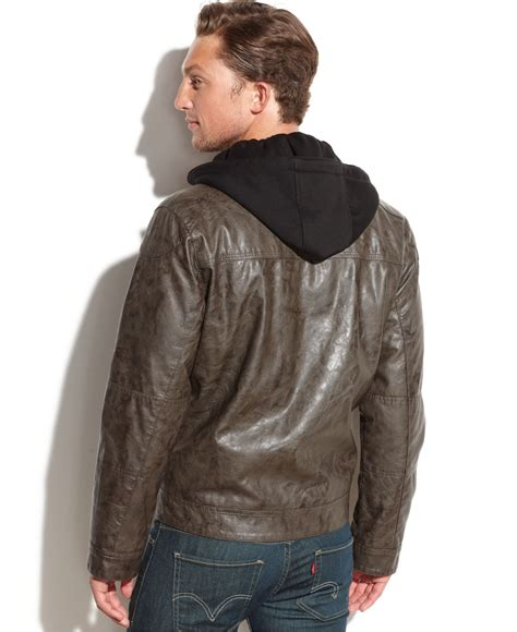 Jacket Calvin calvin klein hooded faux leather moto jacket in green for lyst