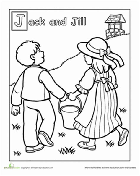 Preschool Coloring Pages Jack And Jill | jack and jill went up the hill worksheet education com