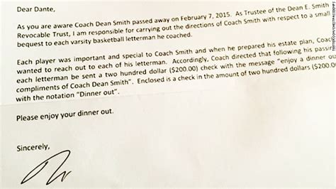 thank you letter sle coach dean smith s will gives 200 to each of his former players