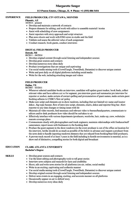 Producer Resume by Field Work Resume Resume Ideas