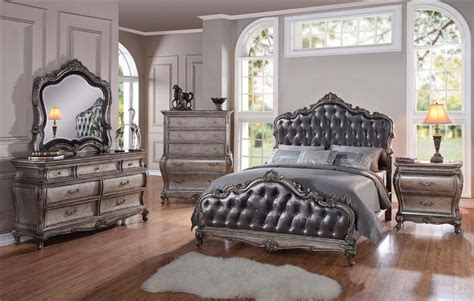 silver bedroom set chantelle 6 piece bedroom set in antique silver finish by