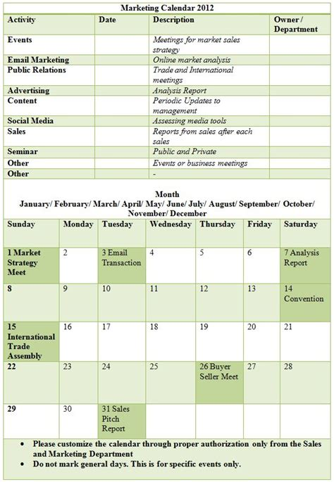 marketing caign calendar template sle marketing calendar template learn more about