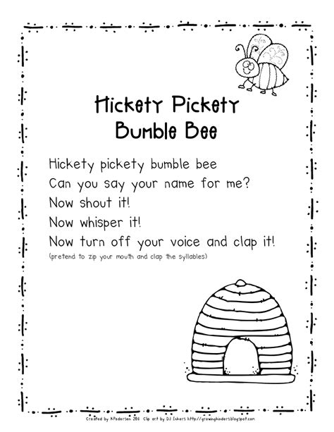 kindergarten activities music name game rhyme use with bumble bee puppet name