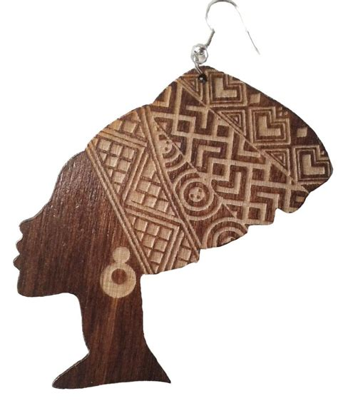 queen head tattoo african woman head wrap silhouette wooden earrings or