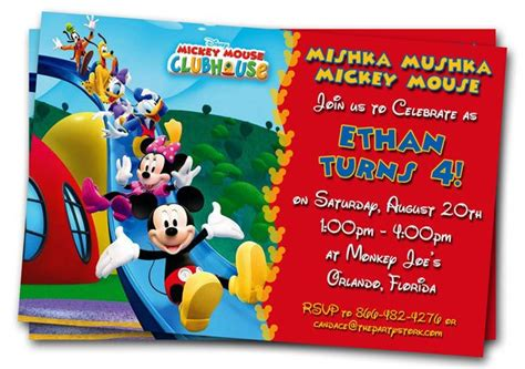 Mickey Mouse Clubhouse Invitations Printable Personalized Free Personalized Birthday Invitation Templates