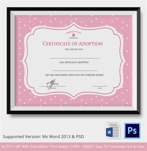 printable animal adoption certificate sle adoption certificate template 18 documents in