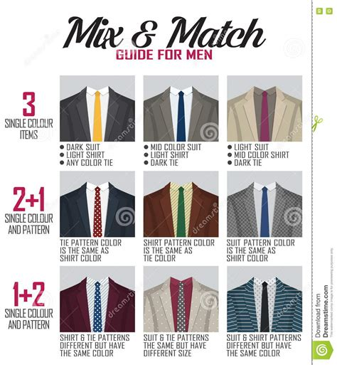 suit color guide pattern mix match guide for suit stock vector image