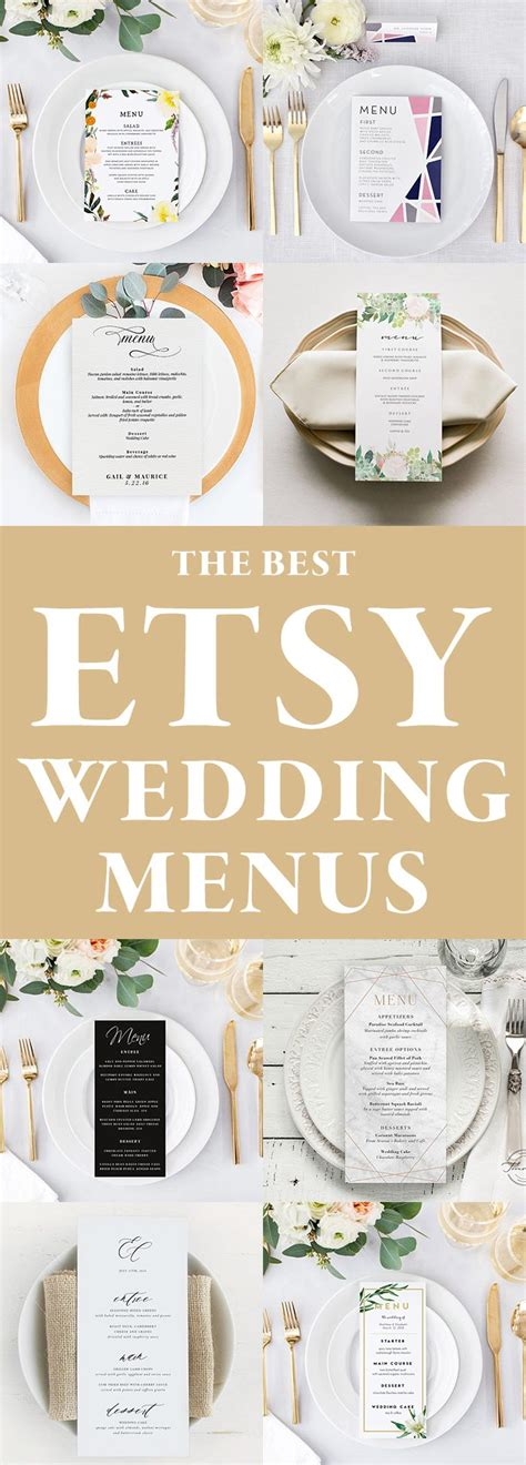 The Best Etsy Wedding Menu Templates Junebug Weddings Etsy Wedding Templates