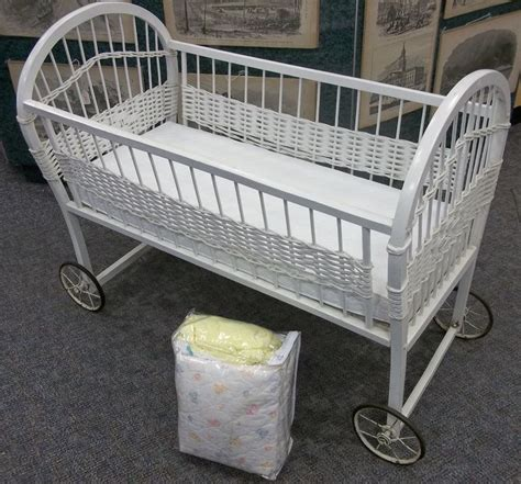 vintage white baby crib white wicker babies and bassinet on