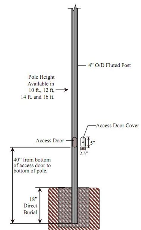 direct burial light pole special lite lighting 4 inch diameter fluted aluminum