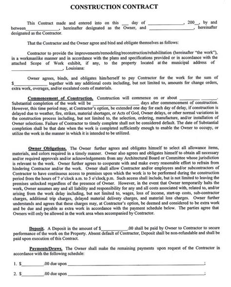 construction company contract template sle