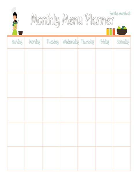 monthly meal planner template menu planner template 5 free templates in pdf word