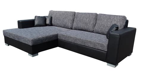 ledersofa ottomane links ecksofa flamenco schlaffunktion schwarz grau ottomane links