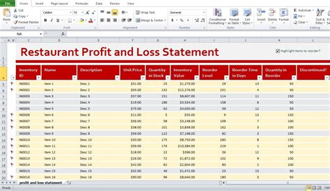 profit and loss account excel profit and loss statement excel