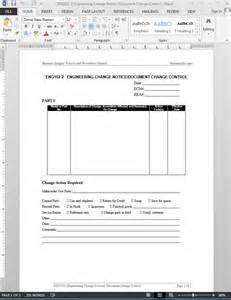 change notice template engineering change notice document change