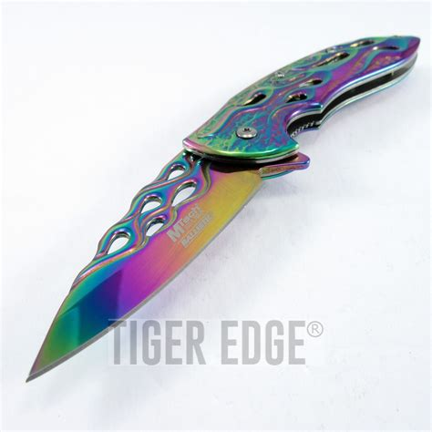 rainbow chrome assist folding pocket knife mtech rainbow chrome