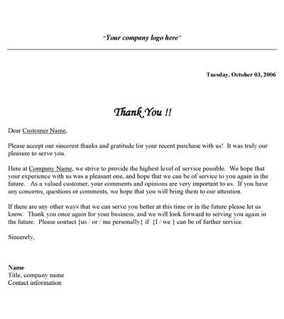 ideas collection business thank you letter to potential client