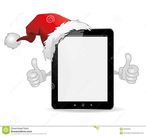 ipad tablet  thumbs   christmas hat stock  image