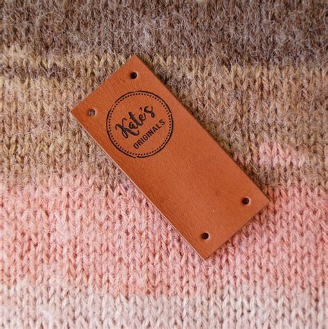 handmade personalized knitted knitting labels folding leather labels center fold tags