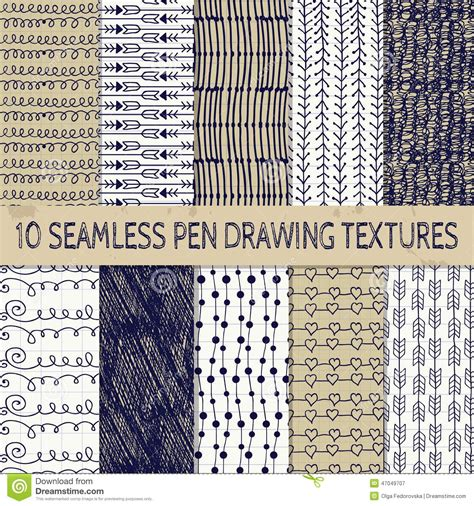 sketch pen pattern pen drawing seamless textures stock vector illustration