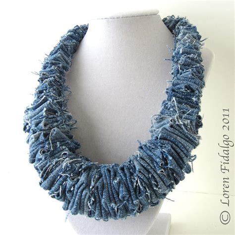 Denim Necklace denim necklace jean fabric necklace fiber necklace blue
