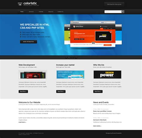 Coloristic Css Template Personal Css Templates Css Templates Dreamtemplate Html And Css Templates