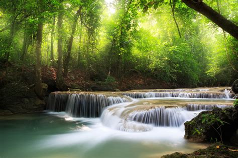 waterfall sea lake deep forest trees sky clouds landscape