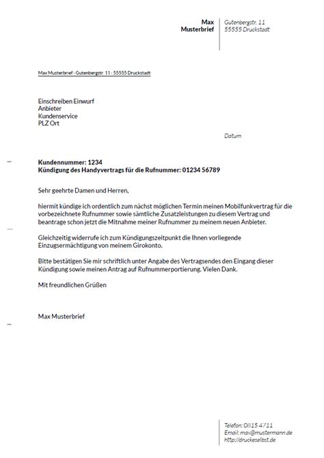 Handyvertrag Kündigen Blau De Vorlage Drucke Selbst Kostenlose Vorlagen F 252 R K 252 Ndigungsschreiben