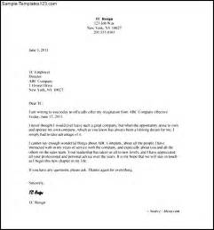 work resignation letter template sle templates