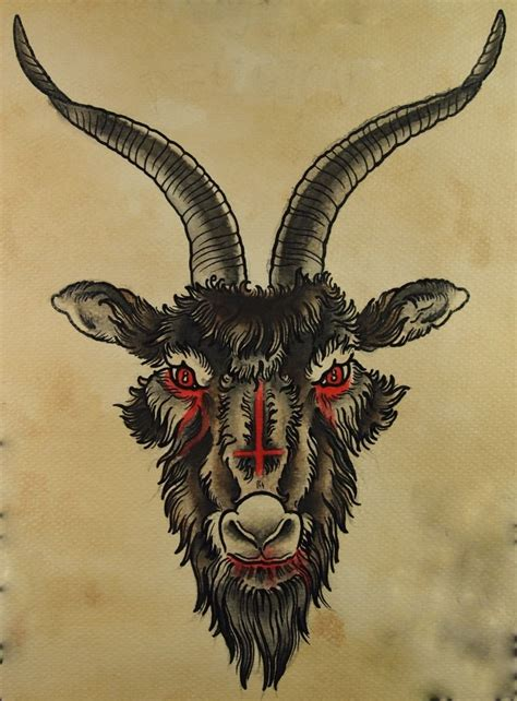 satanic goat tattoo inverted cross goats lost