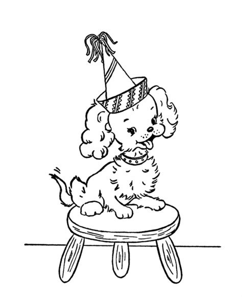 puppy birthday coloring page one vintage hag 09 01 2010 10 01 2010