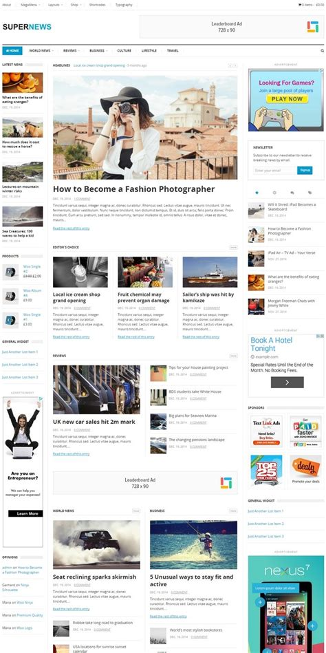 supernews theme junkie 20 best responsive magazine and newspaper style wordpress