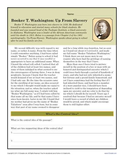 History Worksheets For Middle School by Booker T Washington Up From Slavery Black History