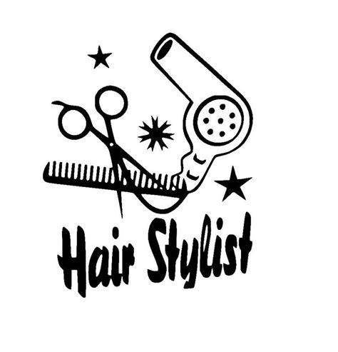 Hair Dryer Cutting Sticker hair stylist with scissors comb and hair dryer sticker