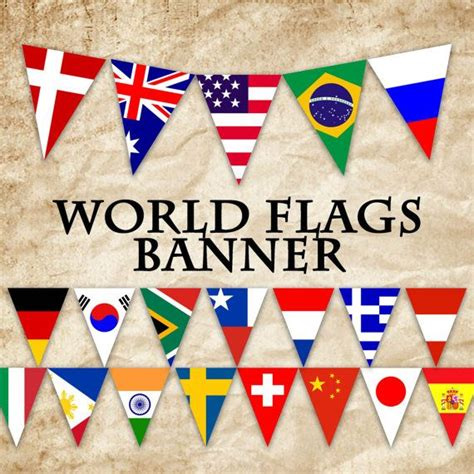 printable flags of the world bunting world flags printable banner includes 64 flags in 3