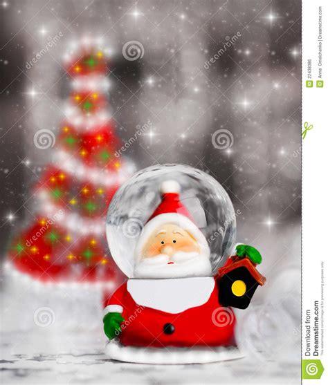 santa ckaus with snow decoration snow globe santa claus tree decoration royalty free stock image image 22438386