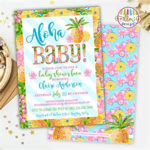 aloha baby tropical baby shower invitation baby shower