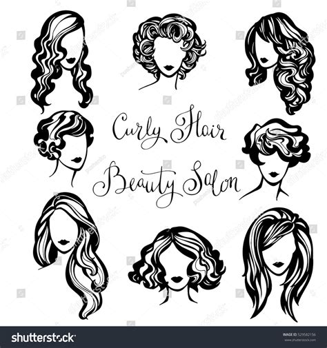 curly hair vector tutorial vector set stylized logo wavy womens stock vector