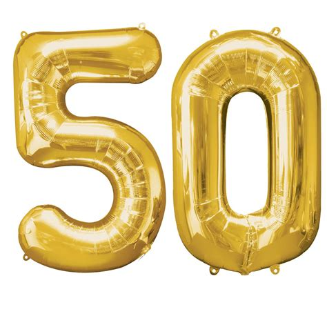 Number Foil Balloon large gold 50th birthday foil balloon