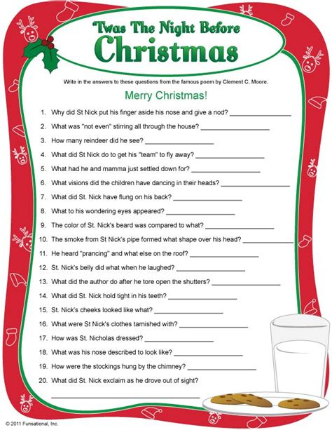 printable christmas party games for work twas the night before christmas christmas