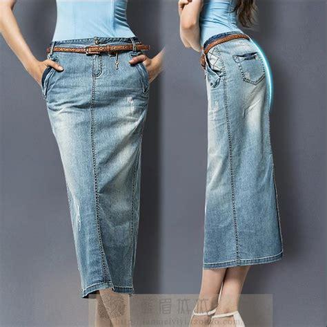 free shipping plus size 3xl washed denim skirt