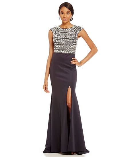 terani couture beaded gown terani couture beaded bodice high slit gown dillards