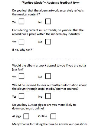 audience feedback rooftop music tom gamble
