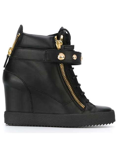 high top wedge sneakers giuseppe zanotti wedge hi top sneakers in black lyst
