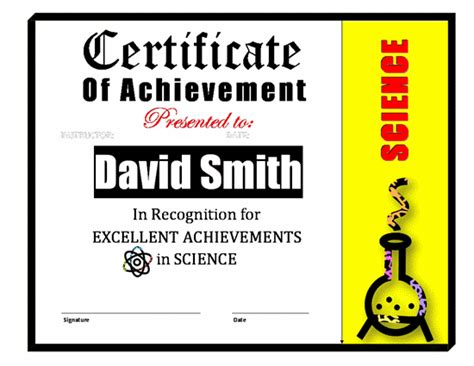 science certificate templates achievement awards template new calendar template site